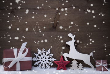 Red Christmas Decoration, Snowflakes, Snow, Reindeer And Gift