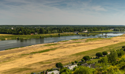 Summer landscape with Loire river, France.