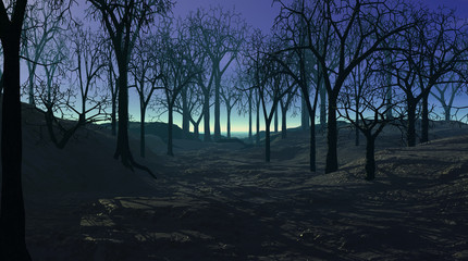 Spooky 3d illustration of bare trees in the forest at night