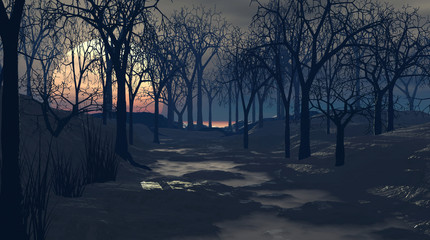 Spooky 3d illustration of bare trees forest at night with full moon.