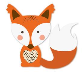 Junger schlauer Fuchs sitzend Vektor