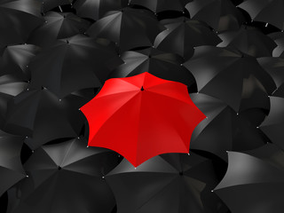 3d red umbrella among black ones