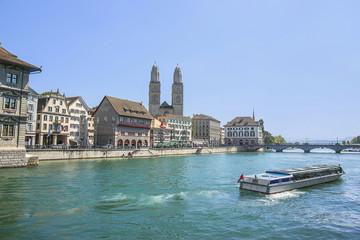 Zurich city center, Grossmunster and Limmat quay in summer