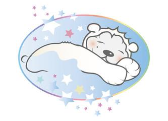 Ein junger schlafender Löwe mit Sternenhimmel