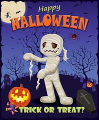 Vintage Halloween poster design set mummy costume