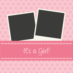 "Pink Baby Card ""It`s a Girl"""