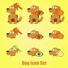 Dog icon set on a yellow background, care of dog
