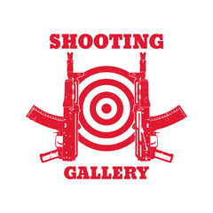 logo, emblem with automatic guns, shooting gallery, vector illustration