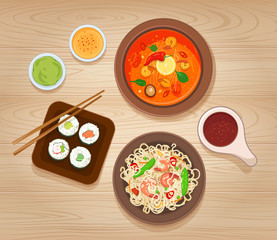 Illustration with Different Types of Asian Cuisine