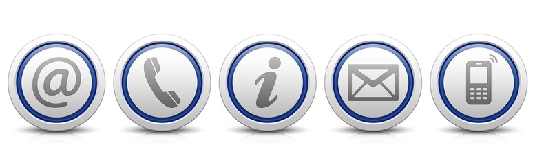 Contact Us – Set of light gray buttons with reflection & dark blue