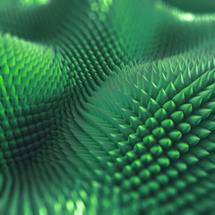 abstract 3d spiny background, computer graphics, green macro texture