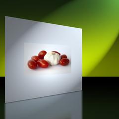 Wand mit Bild von Tomaten und Knoblauchknolle