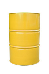 Yellow metal barrel isolated on white.