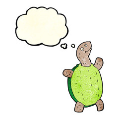 cartoon happy turtle with thought bubble