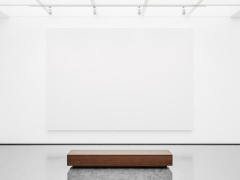 Mock up of gallery interior with white canvas. 3d render