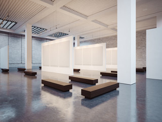 Mockup of open interior with brown bench. 3d render