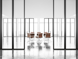 Meeting room with panoramic windows and armchairs . 3d render