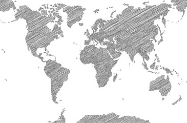 Door stickers World Map Sketchy Map of the World