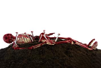dead body skeleton on the cray mound