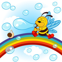 Bee on rainbow inflated bubbles - vector illustration, eps
