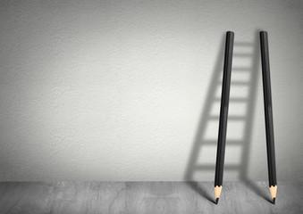 Obraz success creative concept, pencil Ladder - fototapety do salonu