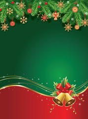 Merry christmas background with traditional straw decorations