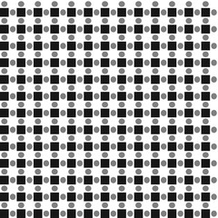 Vector pattern of alternating squares and circles. Repeatable.