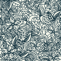 hand-drawing illustration doodle funny Floral background