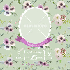 Baby Arrival Card - with Photo Frame and Floral Blossom Design