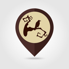 Raven on a branch halloween mapping pin icon