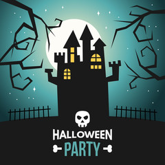 Halloween Vector Illustration with Castle and Text Halloween Party