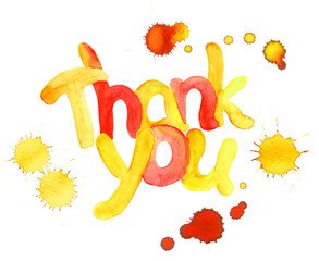 Watercolor hand painted text Thank you with color drops