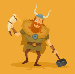 Viking with a beer. Vector flat illustration