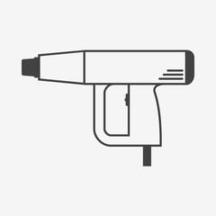 Heat gun or industrial dryer monochrome icon