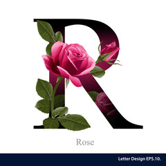 Letter R vector alphabet with rose  flower. ABC concept type as