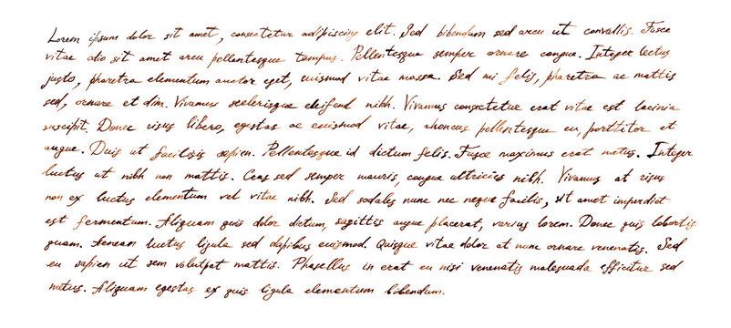 Handwritten letter - latin text Lorem ipsum written by brown ink