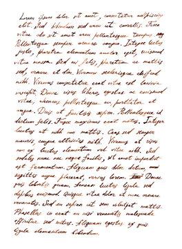 Hand writing letter - latin bible text Lorem ipsum, retro