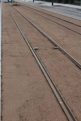 Bauarbeiten an Straßenbahnschienen