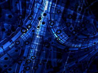 Abstract computer-generated blue and black technology background