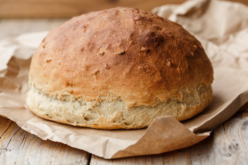 A rustic loaf of home made bread