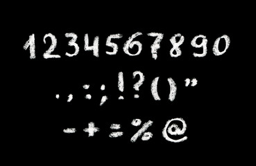 Chalk hand written numbers and punctuation marks on black board