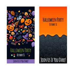 Halloween party invitation poster card design template.