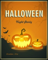 Vector Illustration of a Halloween Night Party Poster with Pumpkins