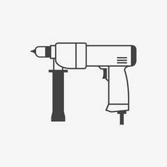 Hand electric drill monochrome icon