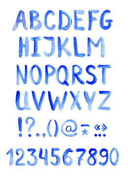 Blue alphabet font - letters, numbers and punctuation