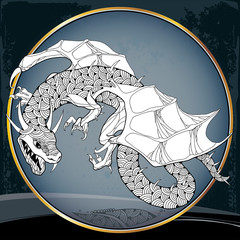 Mythological Dragon in the round frame. The series of mythological creatures