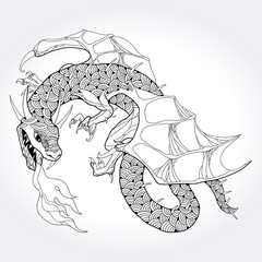 Mythological fire-breathing Dragon isolated on white background. The series of mythological creatures