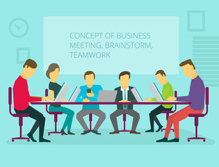 People team sitting and working together at the table. Teamwork