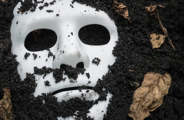 Canvas Print - Scary Halloween mask on the ground