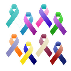 Multi coloured awareness ribbons